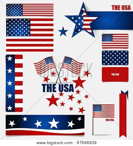 Collection of American Flags, Flags concept design. Vector illustration.