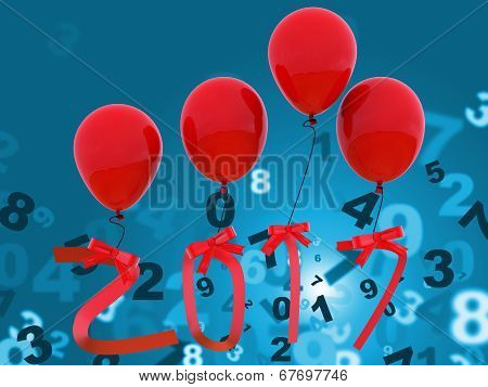 New Year Indicates Twenty Seventeen And Celebration