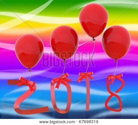 Twenty Eighteen Represents Happy New Year And Celebrate