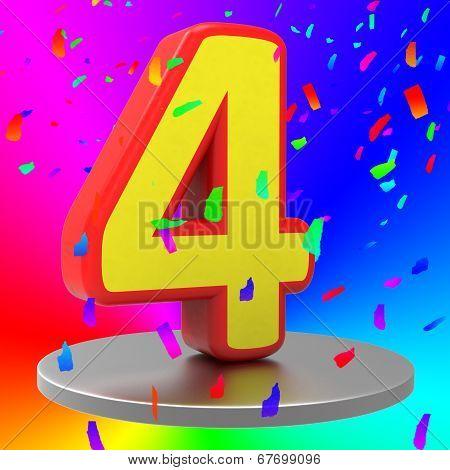 Birthday Fourth Indicates Happy Anniversary And Anniversaries