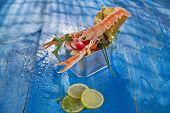 stock photo of crustacean  - Presentation of a crustacean with mixed vegetables in box - JPG