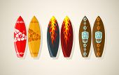 stock photo of tiki  - Vector illustration of surf boards in vintage colors  - JPG