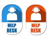 pic of elliptical  - help desk with headset symbol two elliptic flat design labels with icons business technical support concept - JPG