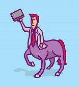 pic of centaur  - Cartoon illustration of a businessman centaur holding a portfolio - JPG