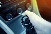 stock photo of speeding car  - Manual Transmission Drive - JPG