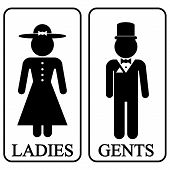 stock photo of gents  - Icons of men and women in retro style - JPG