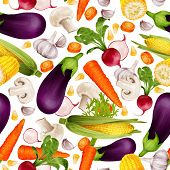 pic of maize  - Vegetable organic food realistic seamless pattern with cut carrot maize stalk aubergine vector illustration - JPG