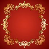 foto of gargoyles  - Vector illustration frame with floral ornament and gargoyles gold on a red background - JPG