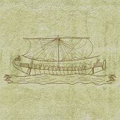 stock photo of mural  - Ancient limestone mural showing Egyptian papyrus boat floating in the sea - JPG