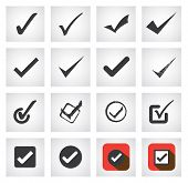 stock photo of yes  - tick mark or right sign vector icons collection set - JPG
