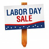 stock photo of labor  - Labor Day Sale sign on wooden post isolated on white background - JPG
