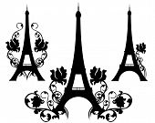image of french culture  - eiffel tower silhouette design set  - JPG