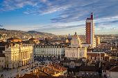 stock photo of torino  - Turin (Torino), panorama from the Cathedral bell tower
