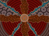 stock photo of aborigines  - A illustration based on aboriginal style of dot painting depicting impacts - JPG