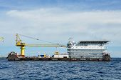 stock photo of barge  - barge and tug boat in open sea - JPG