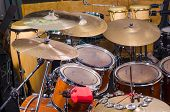 stock photo of drum-kit  - A closeup take of a classic drum kit