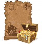 stock photo of brigantine  -  Pirate scroll map and chest full of gold - JPG
