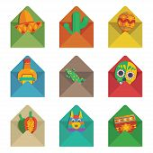picture of pinata  - set of flat color envelopes with mexican decorations isolated on white - JPG