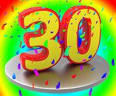 stock photo of congratulations  - Birthday Anniversary Showing Congratulating 30Th And Congratulations - JPG