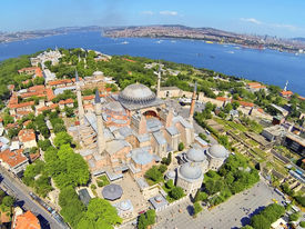 stock photo of paysage  - Hagia Sophia is the famous historical building of the Istanbul - JPG
