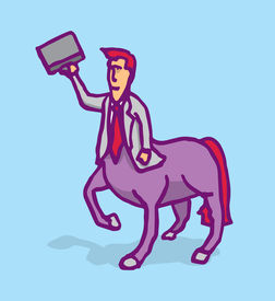 stock photo of centaur  - Cartoon illustration of a businessman centaur holding a portfolio - JPG