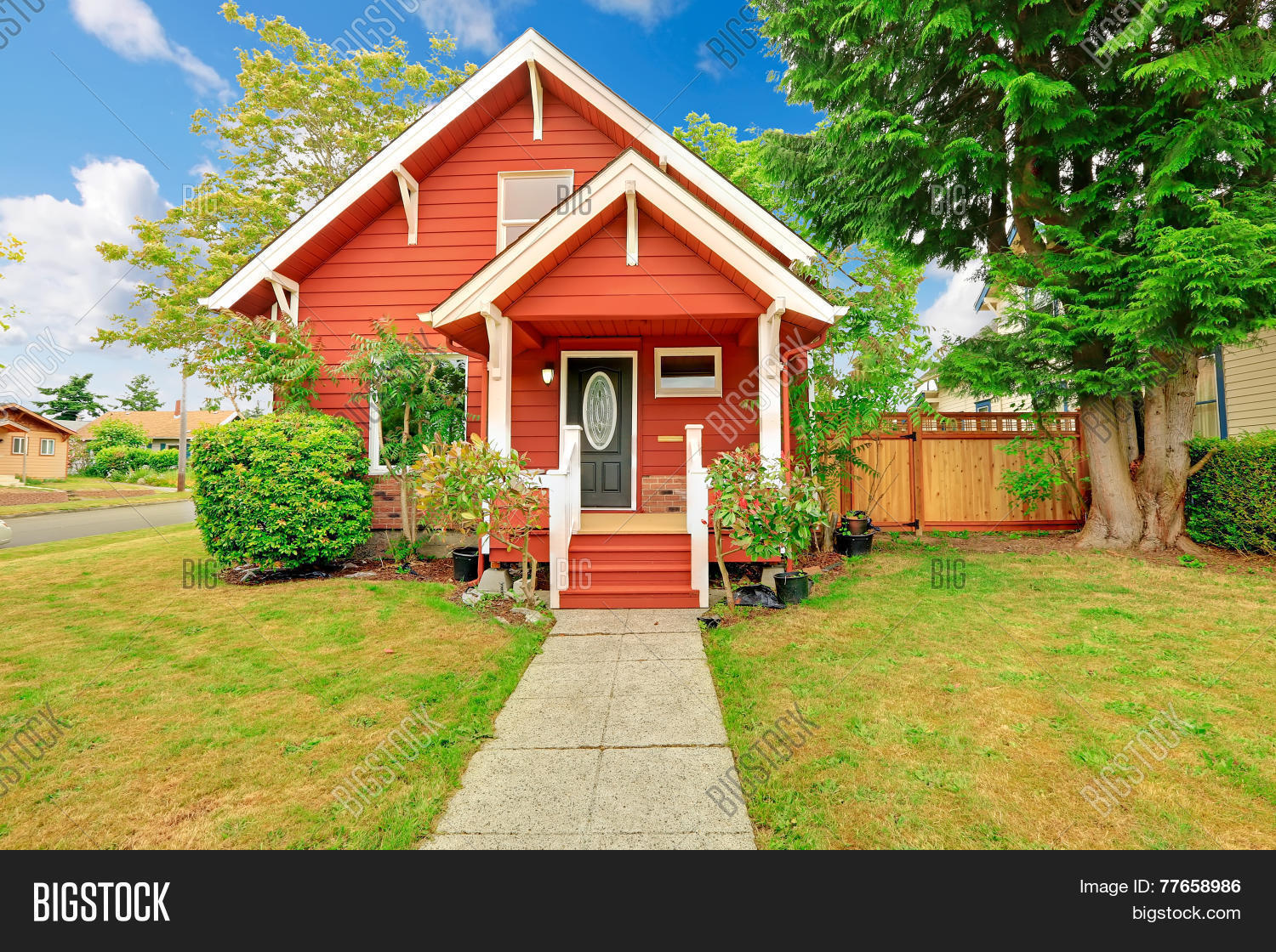 Popular trim colors for white houses - Small Coutnryside House Exterior In Bright Red Color With White Trim