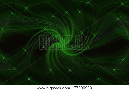 Abstract Green Lines And Stars