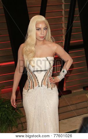 LOS ANGELES - MAR 2:  Lady Gaga at the 2014 Vanity Fair Oscar Party at the Sunset Boulevard on March 2, 2014 in West Hollywood, CA