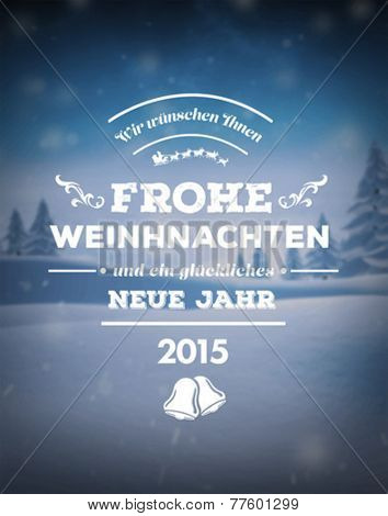 Digitally generated Frohe weinhnachten vector against snowy scene