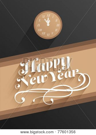 Digitally generated Happy new year vector with clock
