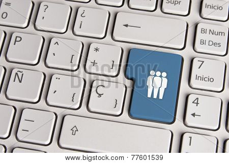 Social Media Concept, Community Keyboard Key.