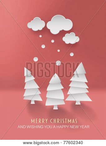Digitally generated Merry christmas vector with cute fir trees