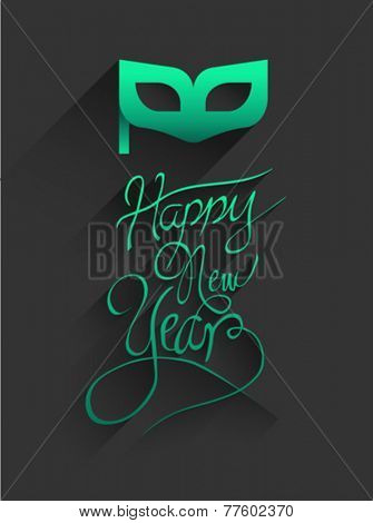 Digitally generated Happy new year vector in embossed green and gold