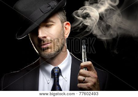 Male Vaping E-Cigarette
