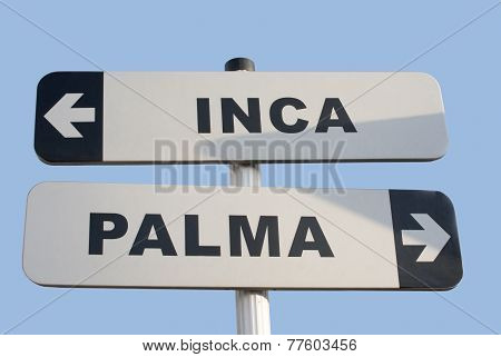 Road sign in the middle of Mallorca: