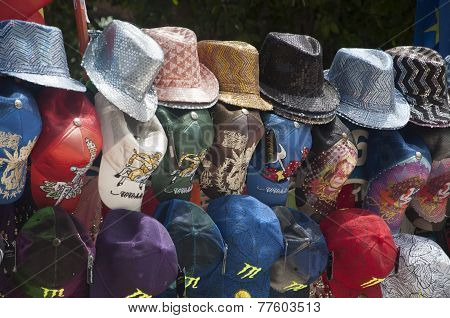 Hats On Display In Market Booth In Torrevieja, Spain