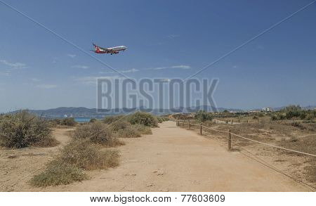 Air Berlin Jetliner Descending In Palma De Mallorca