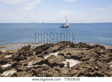 Pockets Of Sea Salt In Limestone Rocks