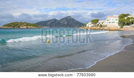 Beautiful green waves Sant Elm beach