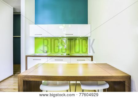 Green Kitchenette In Hotel Room
