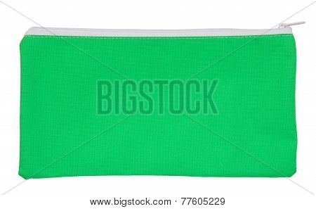 Green Fabric Bag Isolated On White With Clipping Path