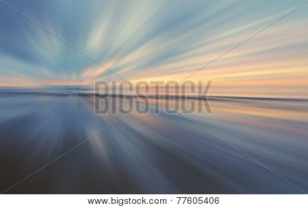 Sunset in zoom blur