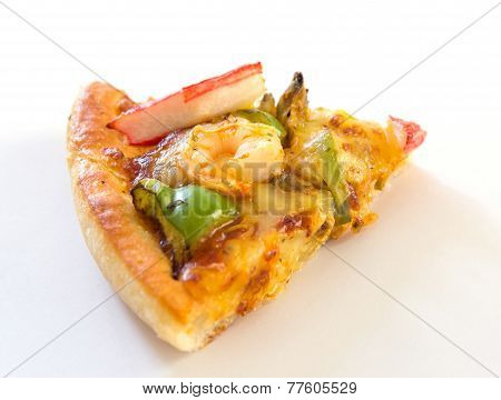 Pizza With Seafood Isolated On White