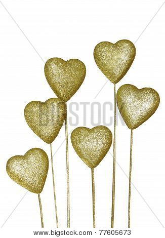 Golden Decoration Heart Isolated On White Background
