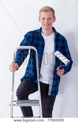 Young Man On Ladder