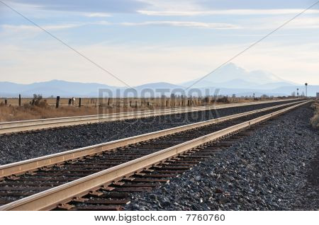 Railroad tracks with Mt. Shasta in Northern California