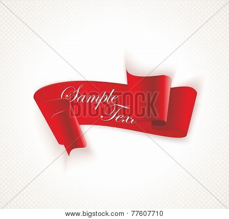 Red Vector Silky Ribbon Banner