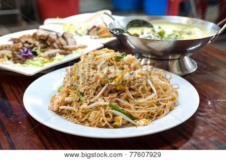 Classic Pad Thai Noodles Served At A Hong Kong Cooked Food Centre