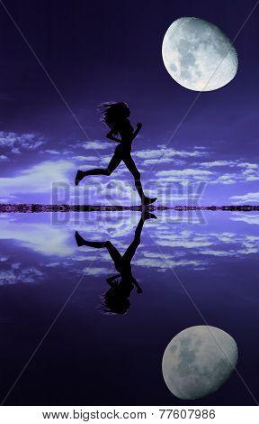 Female runner silhouette