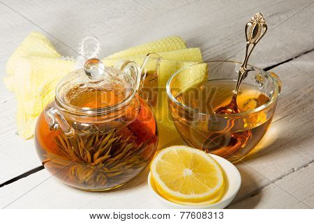 Transparent Teapot And Cup Of Tea